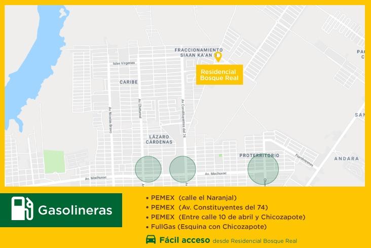 Bosque Real servicios gasolineras casas nuevas en chetumal