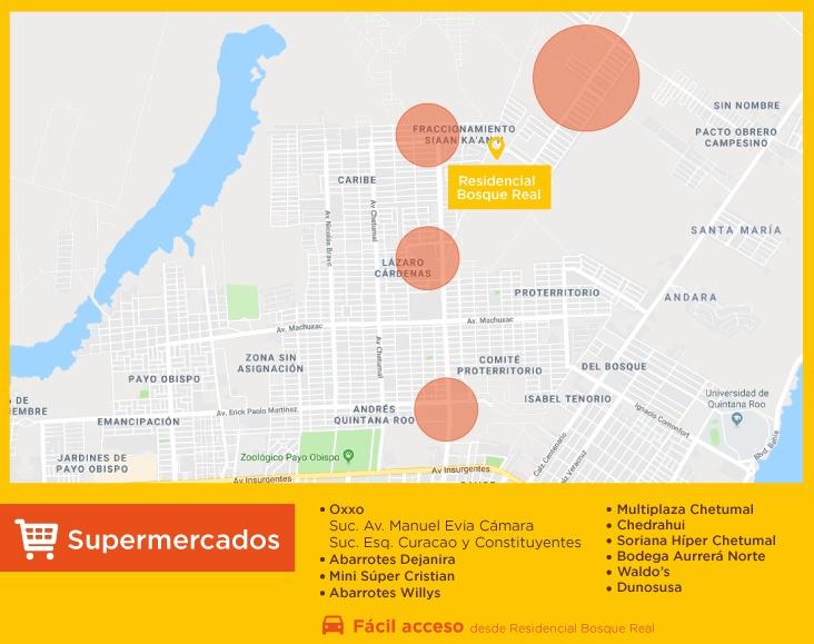 Bosque Real servicios supermercados casas nuevas en chetumal