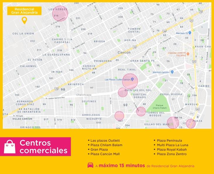 Gran Alejandria puntos interes centros comerciales casas nuevas en venta en cancun