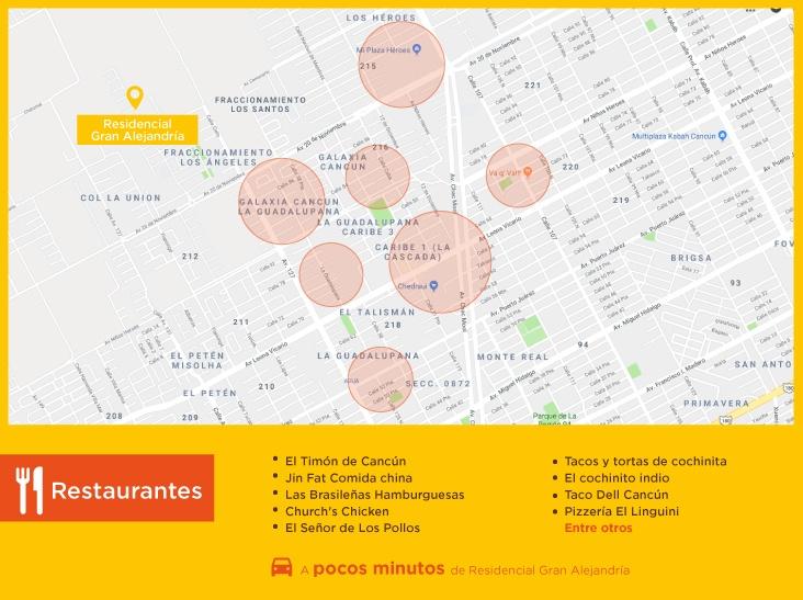 Gran Alejandria Puntos Interes Restaurantes casas nuevas en venta en cancun
