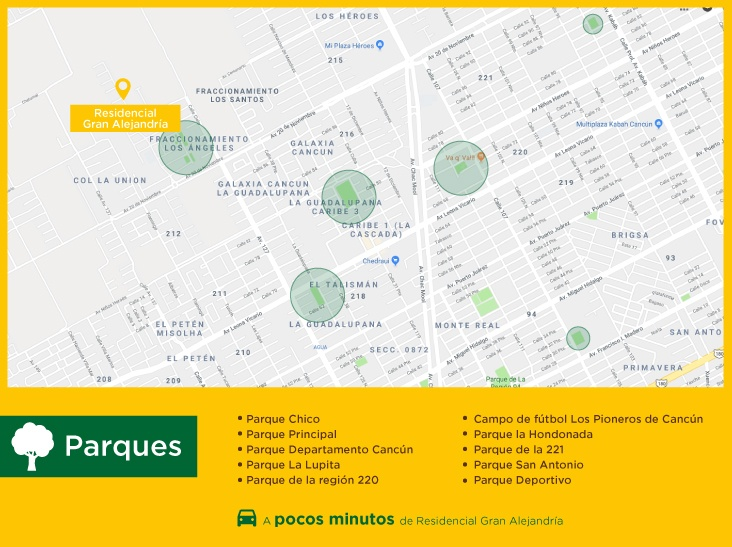 Gran Alejandria puntos interes parques casas nuevas en venta en cancun