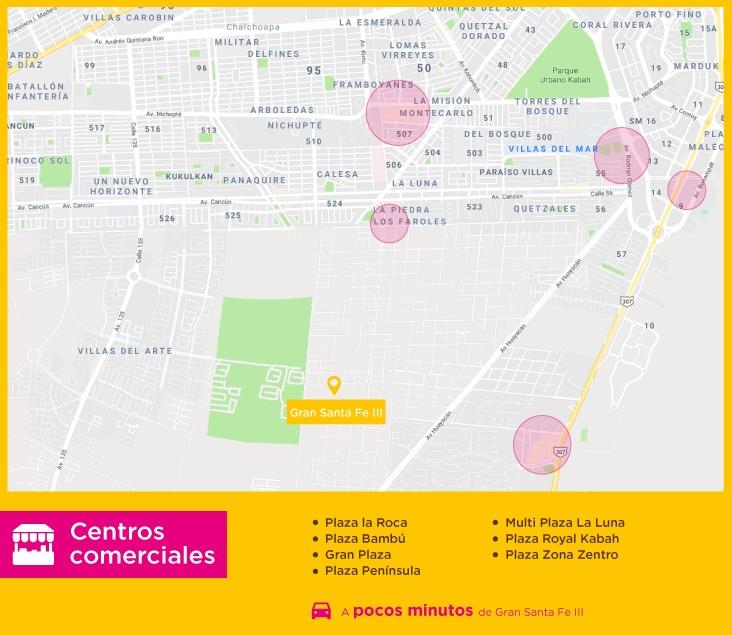 Gran Santa Fe III Centros Comerciales casas nuevas en venta en cancun