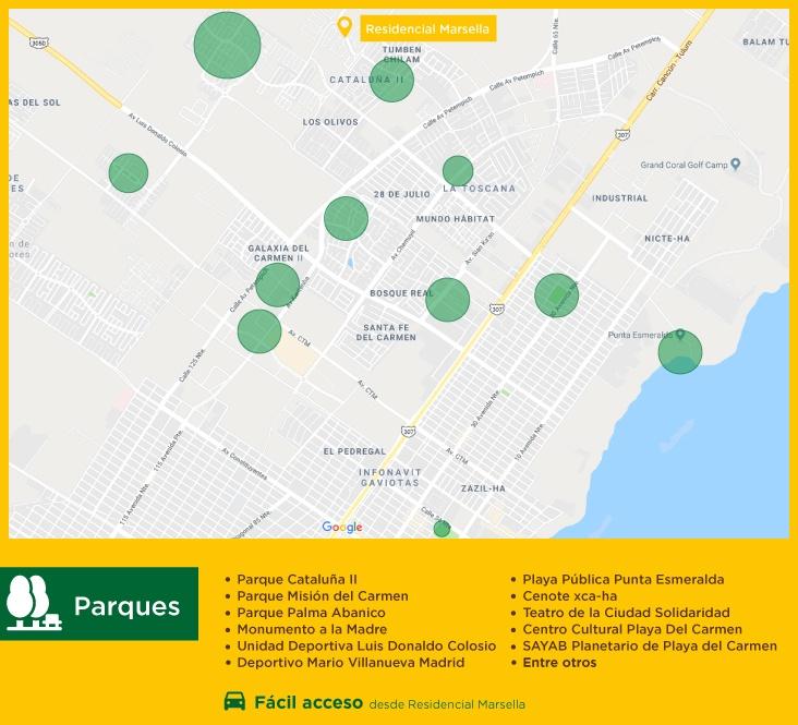 Puntos de Interes Residencial Marsella Parques casas nuevas en venta en playa del carmen