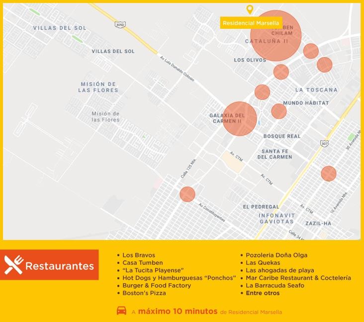 Puntos de interes Residencial Marsella Restaurantes casas nuevas en venta en playa del carmen