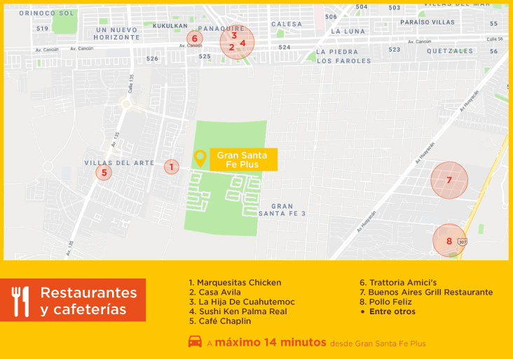 Gran Santa Fe Plus Restaurantes cafeterías casas nuevas en venta en cancun
