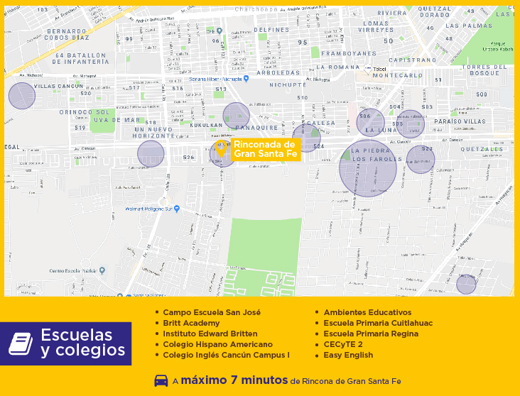 Rinconada de Gran Santa Fe escuelas casas nuevas en venta cancun