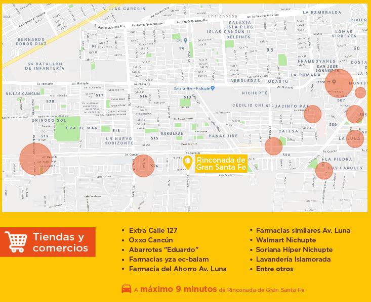 Rinconada de Gran Santa Fe tiendas comercios casas nuevas en venta cancun