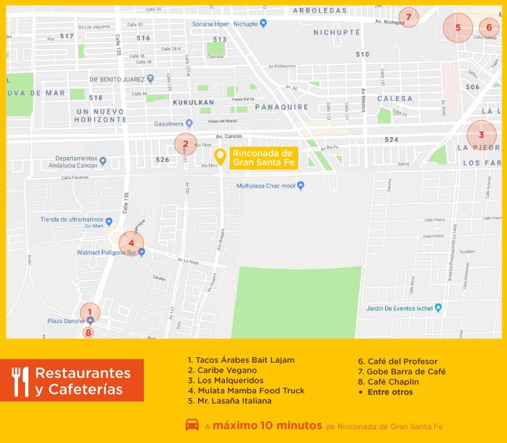 Rinconada Gran Santa Fe Restaurantes Cafeterias casas nuevas en venta en cacun