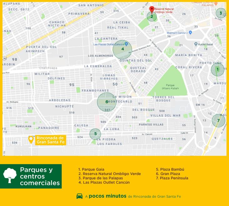 Rinconada Gran Santa Fe parques centros comerciales casas nuevas en venta en cancun