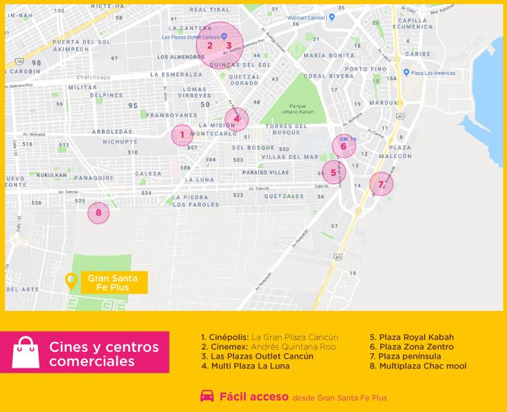 Gran Santa Fe Plus cines centros comerciales Casas nuevas en venta en cancun