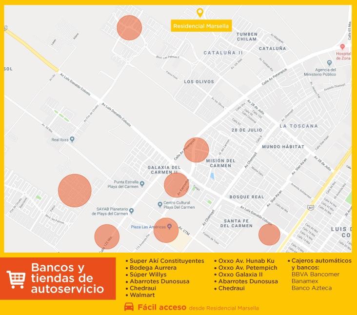 servicios marsella bancos tiendas autoservicios comprar casas nuevas en playa del carmen